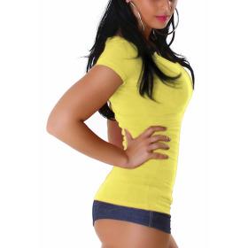 Jela London Damen Longshirt T-Shirt V-Ausschnitt Kurzarm Gelb 36 L