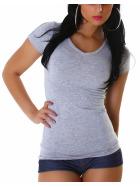 Jela London Damen Longshirt T-Shirt V-Ausschnitt Kurzarm Grau 30 XS