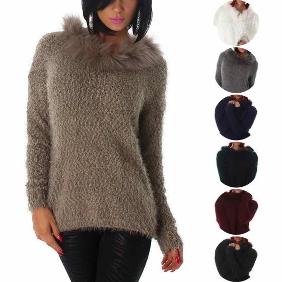 Jela London Damen Kuschel Pullover Fransen Schalkragen (36-42)