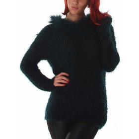Jela London Damen Strick Pullover Longpulli Fransen Schalkragen Grün