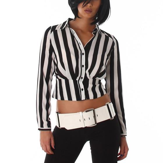 Voyelles Damen kurze Streifen-Bluse (32 - 42)