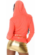 Jela London Feinstrick Jacke College Kapuze Sweatjacke, Neon Orange S