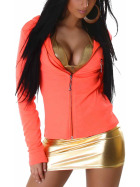 Jela London Feinstrick Jacke College Kapuze Sweatjacke, Neon Orange M