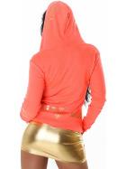 Jela London Feinstrick Jacke College Kapuze Sweatjacke, Neon Orange L