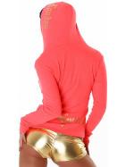 Jela London Feinstrick Jacke College Kapuze Sweatjacke, Neon Apricot L