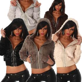 Jela London Damen flauschig weiche Fellimitats-Jacke mit...