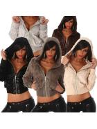 Jela London Damen flauschig weiche Fellimitats-Jacke mit Kapuze (32 - 40)