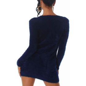 Luxestar Kuschel Pullover Fransen Longpulli Strickkleid Blau 32-36 (SM)