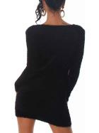 Luxestar Kuschel Pullover Fransen Longpulli Strickkleid Schwarz SM