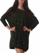 Jela London Feinstrick Pullover Oversize Wellness Lochnieten, Grün