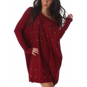 Jela London Feinstrick Pullover Oversize Wellness Lochnieten, Rot