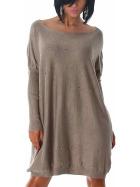 Jela London Feinstrick Pullover Oversize Wellness Lochnieten, Hell-Braun