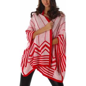 Voyelles Offene Strickjacke Cardigan Poncho-Stil Retro Streifen, Rot