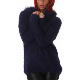 Jela London Damen Strick Pullover Longpulli Fransen Schalkragen Blau