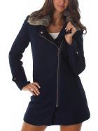 Voyelles taillierter, modischer Damen Mantel mit Fellkragen Navy L