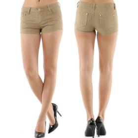 Push-Up Leoparden Hotpants Shorts Panty, Beige, 36 38