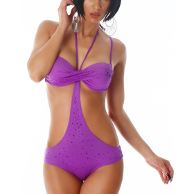 Push-Up Monokini mit Steinchen-Applikation, Purple 42