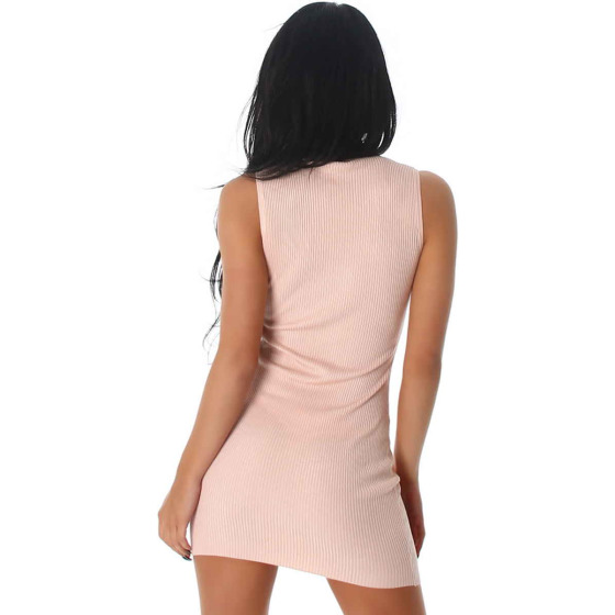 Jela London Etui Strickkleid Stretch Feinripp Zierleiste Glanz, Rosa
