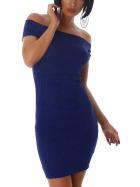 Jela London Carmen Stretchkleid Strickkleid dünn Midi Slim-Fit, Blau