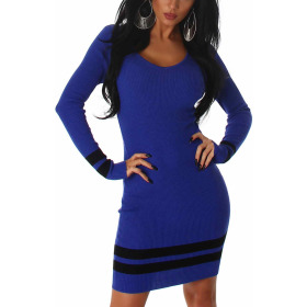 Jela London Strickkleid Longpullover Stretch Feinripp Streifen, Blau