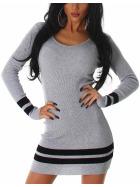 Jela London Strickkleid Longpullover Stretch Feinripp Streifen, Grau