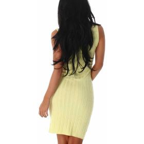 Jela London Strickleid Slim-Fit Etui Stretchkleid Midi Streifen, Gelb