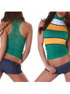 Voyelles Racerback Netz-Top Spitze Geblümt Streifen, Grün Gelb ML