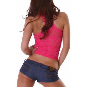 Voyelles Racerback Netz-Top Spitze Geblümt Streifen, Pink Türkis SM
