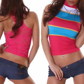 Voyelles Racerback Netz-Top Spitze Geblümt Streifen, Pink Türkis ML