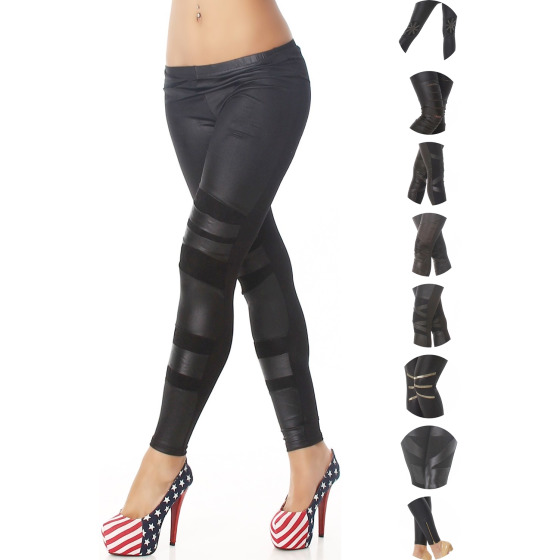 Q.C. Schwarze Wetlook Kunstleder Leggings (32 - 40)