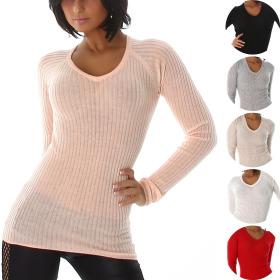 Voyelles Damen Feinripp Stretch Pullover Ripp...