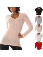 Voyelles Damen Feinripp Stretch Pullover Ripp V-Ausschnitt (34-38)