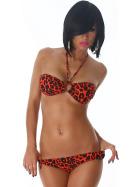 Jela London Damen Feuer-Leopard Bandeau-Neckholder Bikini-Set (34-42)