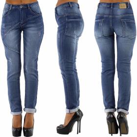 Blue Rags Push-Up Stretch Jeans Linien Risse Hoher Bund...