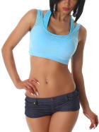 Stretch Sport-BH mit Softschalen und Rückenkreuz, Türkis M-L