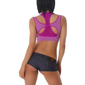 Stretch Sport-BH mit Softschalen und Rückenkreuz, Lila M-L