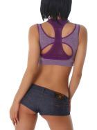 Stretch Sport-BH mit Softschalen und Rückenkreuz, Dark Purple M-L