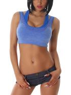 Stretch Sport-BH mit Softschalen und Rückenkreuz, Blau M-L