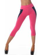 Power Flower kurze Capri-Leggings Streifen hoher Bund, Pink-Schwarz SM