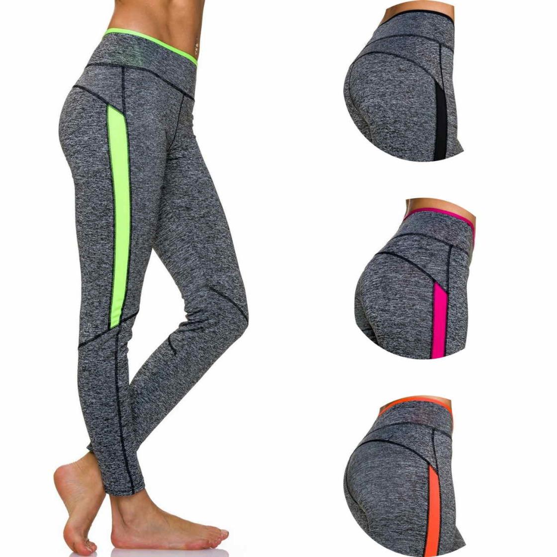 71e0bc0d271094 Moski Fitness Stretch Sport-Leggings Streifen Melange (34-40)