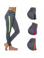 Moski Fitness Stretch Sport-Leggings Streifen Melange (34-40)