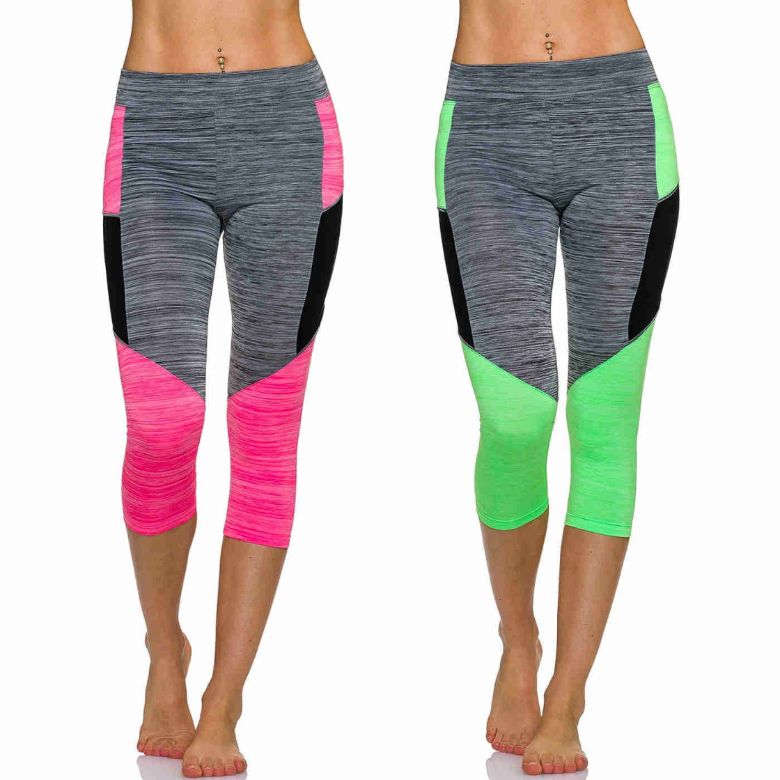 a580bba31a8336 Streifen-Kombination; Adiyaro Damen Fitness 3/4 Capri Sport-Leggings Neon  m. Streifen-Kombination