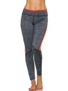 Sport-Leggings m. Farb-Streifen & Melange, Grey-Orange M