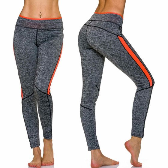 Sport-Leggings m. Farb-Streifen & Melange, Grey-Orange L