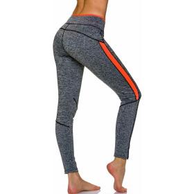 Sport-Leggings m. Farb-Streifen & Melange, Grey-Orange XL
