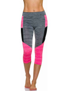 3/4-Leggings Neon m. Streifen-Kombination in Melange, Grey-Pink M