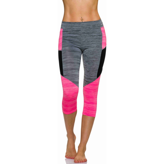 3/4-Leggings Neon m. Streifen-Kombination in Melange, Grey-Pink L