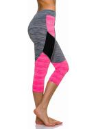 3/4-Leggings Neon m. Streifen-Kombination in Melange, Grey-Pink L