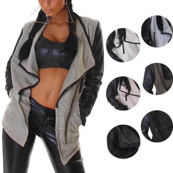 Wetlook Umhang-Jacke aus robustem Stoff mit Kunstlederärmeln (Gr. 34-40)