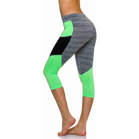 3/4-Leggings Neon m. Streifen-Kombination in Melange, Grey-Green S